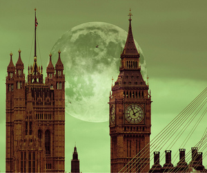 london, Big Ben, and moon image