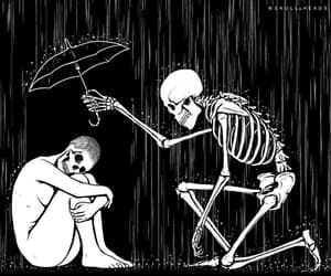 b&w, rain, and skeleton image