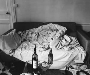 wine, bed, and black and white image