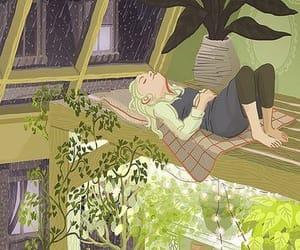 art, girl, and rain image