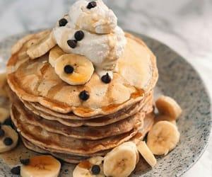banana, pancakes, and breakfast image