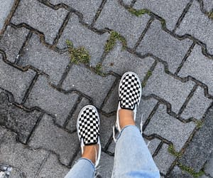 checkerboard, jeans, and vans image