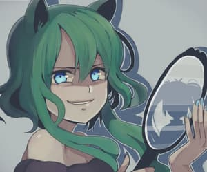 copycat, green hair, and neko image