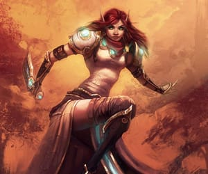 world of warcraft art and redhead elf monk image