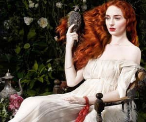 redhead white dress and sophie turner photo art image