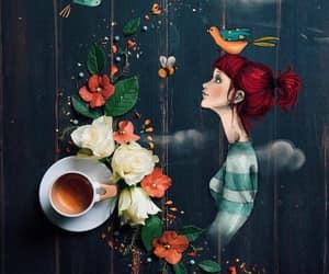 redhead coffee art, flowers bird bees, and cup o joe redhead image