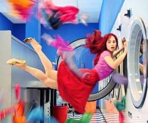 redhead washer clothes, laundromat malfunction, and rebeka w art image