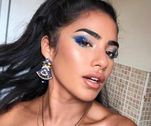 blue eyeshadow, brows, and instagram model image