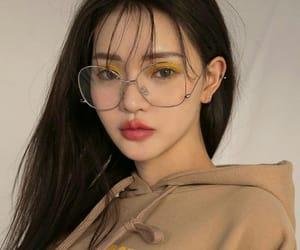 asian, eyeglasses, and makeup image