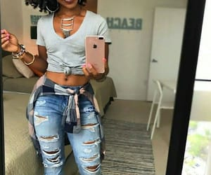 black girl, ripped jeans, and cool girl image