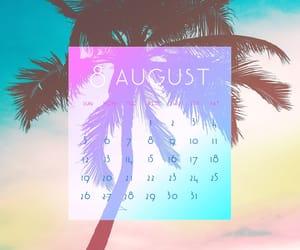 August, beach, and calendar image