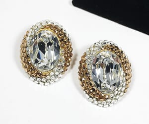 earrings, etsy, and clear rhinestones image