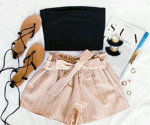 black, pink, and sandals image