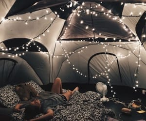 camping, comfy, and lights image