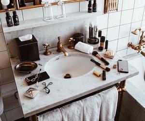 makeup, bathroom, and gold image