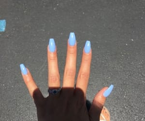 blue, nails, and acrylic nails image