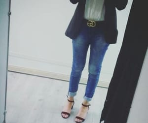 blazer, white shirt, and blue jeans image