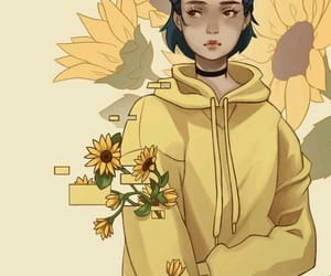 girl, yellow, and sunflowers image