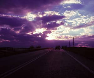 purple, road, and sky image