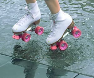 alternative, white and pink, and roller skates image