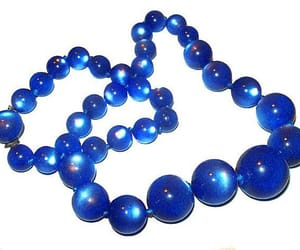 beaded necklace, blue bead necklace, and etsy image