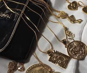 gold, necklace, and YSL image