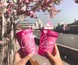 coffee, girl, and pink image
