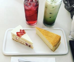 cheesecake, drink, and crepe cake image