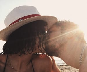beach, bisou, and couple image