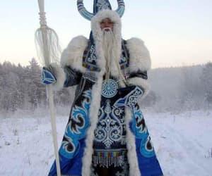 blue, santa claus, and snow image