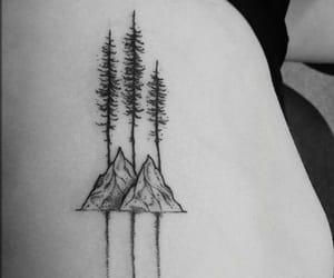 mountain, tattoo, and tree image