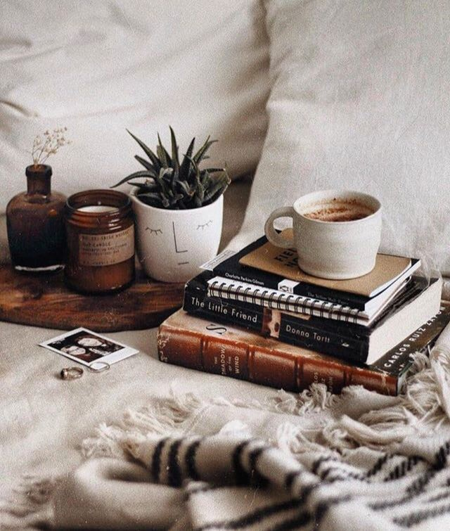coffee, book, and plants image