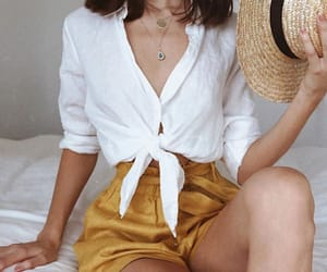 fashion, outfit, and mustard yellow image
