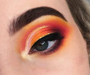 eye, makeup, and orange image