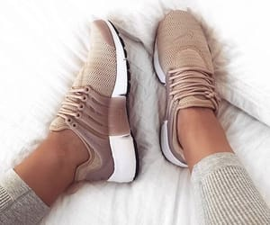 beige, nike, and shoes image
