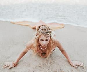 mermaid, beach, and fairytale image