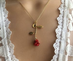 rose, necklace, and style image