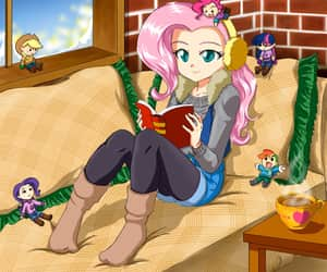 anime, reading, and fluttershy image
