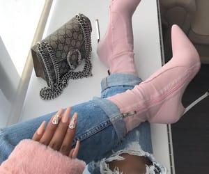 bag, heel, and pretty nails image