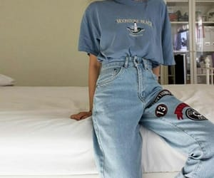 blue, grunge, and outfit image