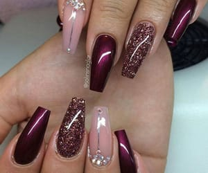 burgundy, nail art, and nail design image