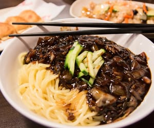 chopsticks, delicious, and korean image