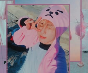 pink blue, jeon jungkook, and asthetic pink image