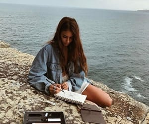 girl, drawing, and ocean image
