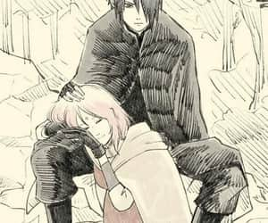 sasuke, sasusaku, and love image
