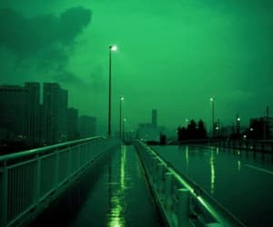 green, city, and blue image