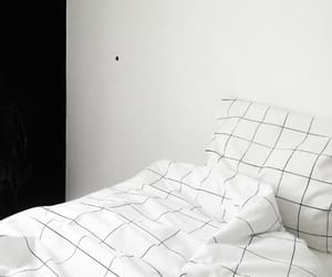 bed, black, and white image