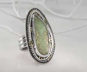 cocktail ring, green stone ring, and 22k solid gold image