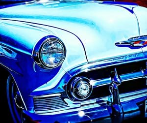 blue, chrome, and classic cars image