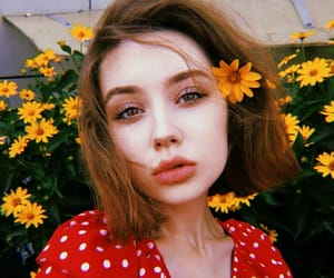 beauty, face, and flowers image